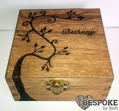 Personalised Wood Jewellery Memory Box 12cm Swirly Tree Keepsake Mum Nan Gift