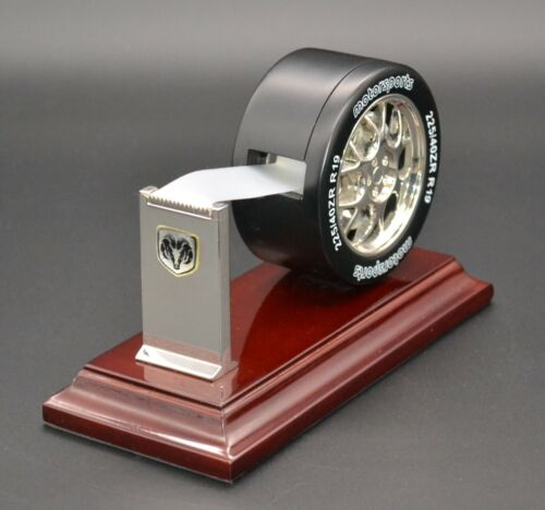 Desk tape dispenser Motorsports tire metal and wood heavy collectible