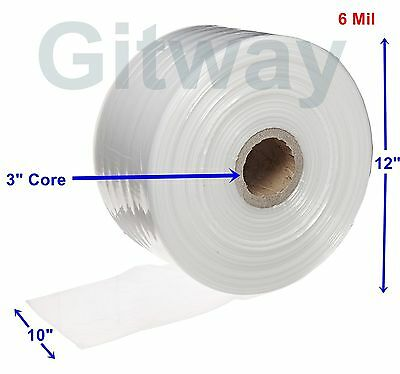 10 X 725 Clear Poly Tubing Tube Plastic Bag Polybags Custom Bags On Roll 6ml