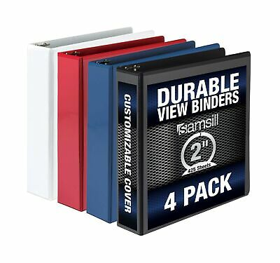 Samsill 3 Ring Binder Clear View 2 Inch Binder 4 Pack Heavy Duty Three Ring...