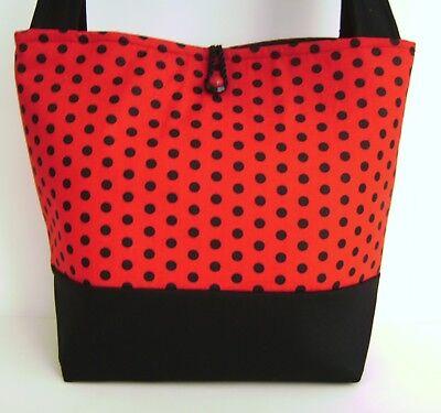Fashion Polka Dot Tote - RED AND BLACK POLKA DOT PRINT HANDBAG PURSE TOTE BAG POCKETBOOK MOD FASHION
