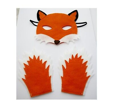 Fox Mask and Paws costume boys girls dress up Fantastic mr Fox Roald Dahl