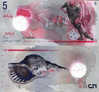 Maldives 5 Rufiyaa Banknote World Paper Money Unc Currency Pick New 2017 Soccer