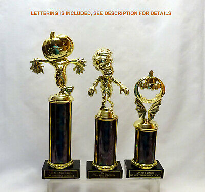 SET OF 3 HALLOWEEN TROPHIES SCARECROW  ZOMBIE PUMOKIN TROPHY HALLOWEEN   - Halloween Trophy