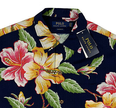Men's POLO RALPH LAUREN Hawaiian Floral Short Sleeve S/S Shirt L Large NWT NEW