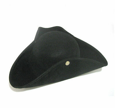 Black Pirate Revolutionary War Soldier Colonial Tricorn Adult Costume Hat (Revolutionary War Costumes For Men)