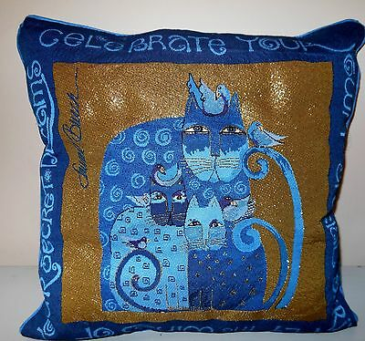 Laurel Burch Blue Indigo Cats Tapestry Throw Pillow Finished USA Cat RETIRED