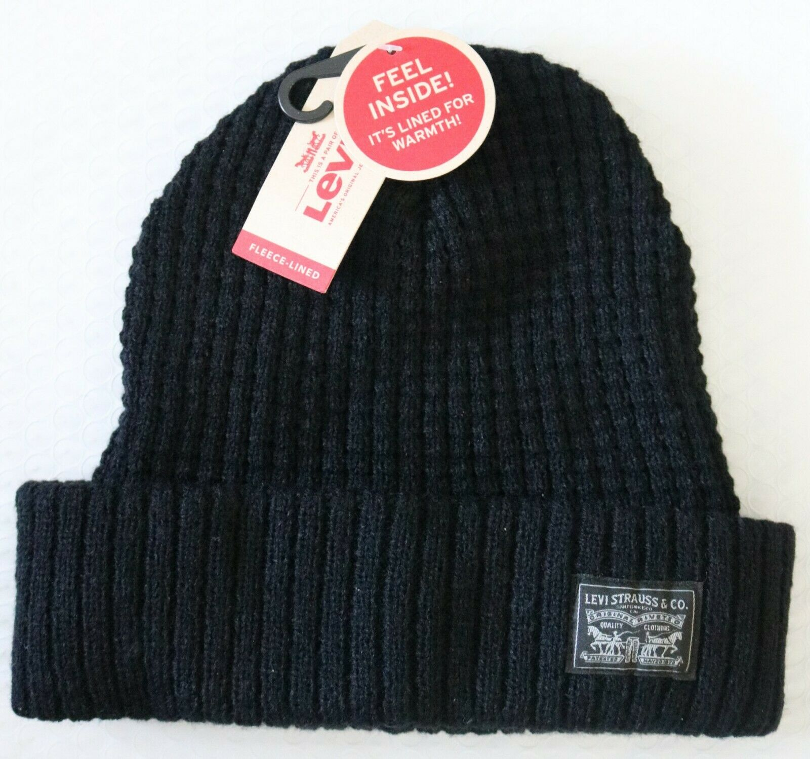 f9b9b8ed3bde8 Levi s Max Warmth Mens Fleece Lined Knit Cuff Beanie Hat Black One Size
