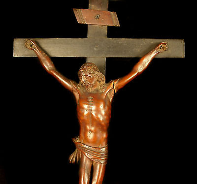 Christ the XVIII th century wooden carved crucifix 21 11/16in Jesus