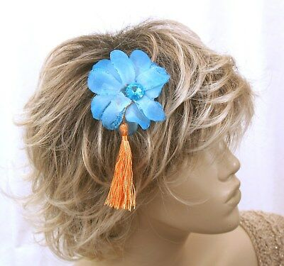 Turquoise Blue flower and Orange tassel fascinator with matching - Orange And Turquoise Wedding