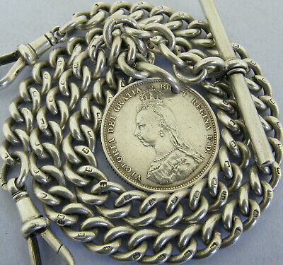 Antique Solid Silver Double Albert Pocket Watch Chain T- Bar & Coin Fob Bir 1920