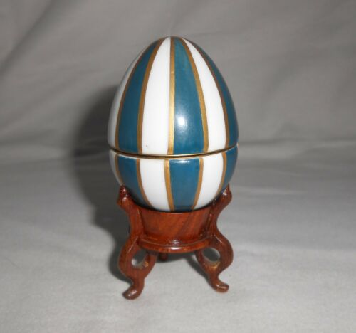 Chamart Limoges Egg Figure Gold Blue Stripe Hand Painted With Stand