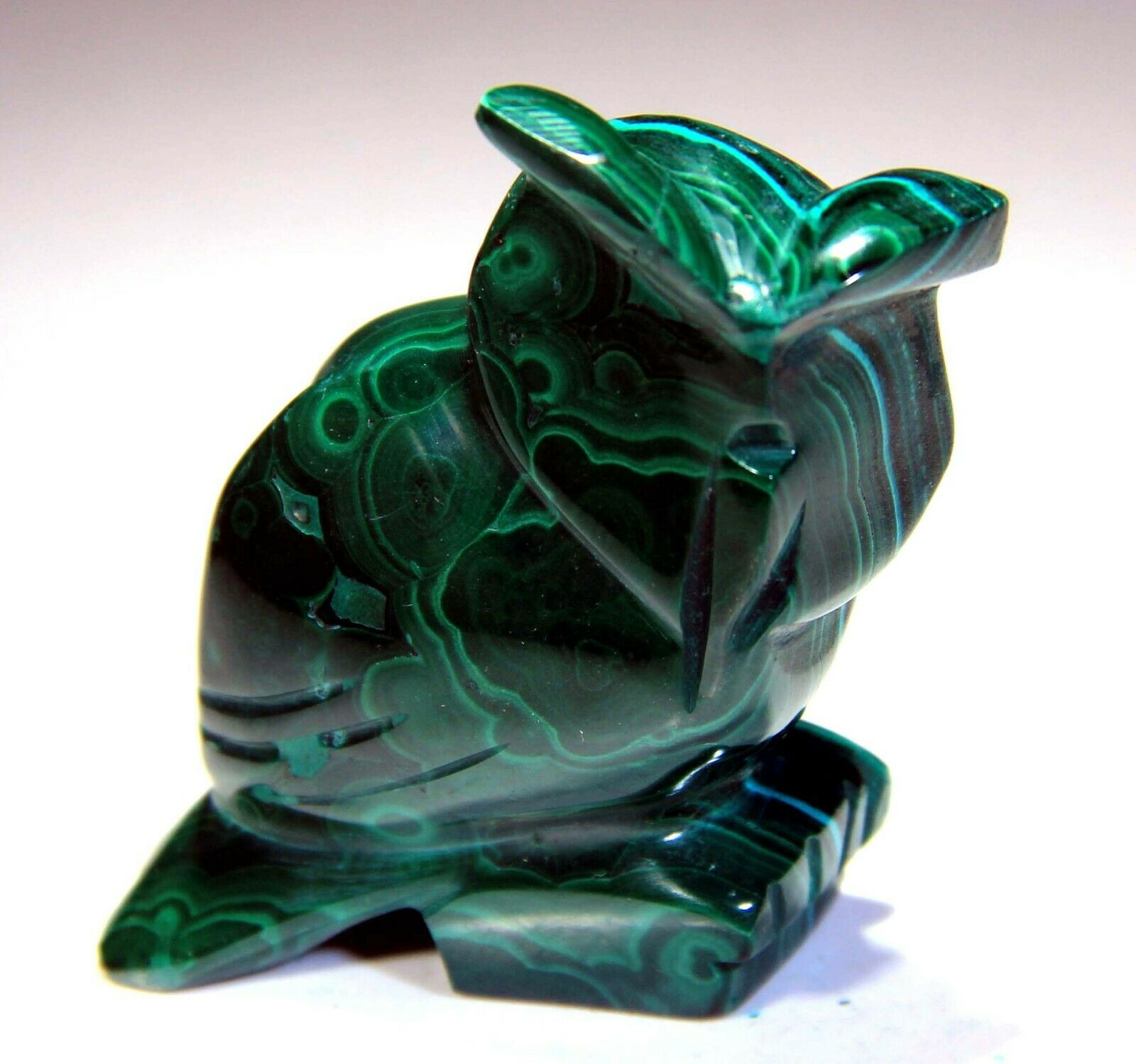 2.25 Top Quality Owl, Natural Malachite Hand Carving SC278 - $10.50