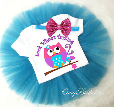 Blue Pink Owl 2nd Second Custom Birthday Girl Tutu Shirt Outfit Set 2 years old](2 Year Old Birthday Tutu Outfit)