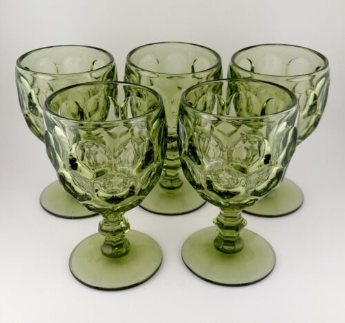 """5 Imperial Glass Ohio Provincial Honeycomb Verde Green Water Wine 5 5/8"""" Goblets"""