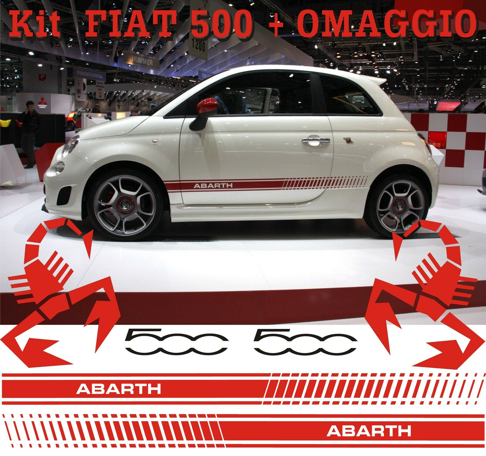 2 FASCE ADESIVE DECAL STICKERS FIAT 500 ABARTH AUTO TUNING