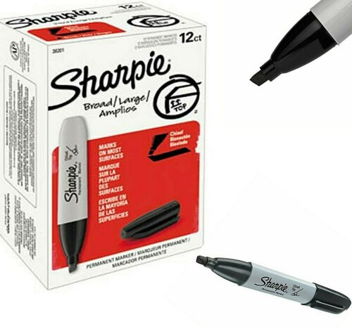 Black Permanent Marker Set Sharpie Markers Large Broad Tip Non Toxic 12 Pack