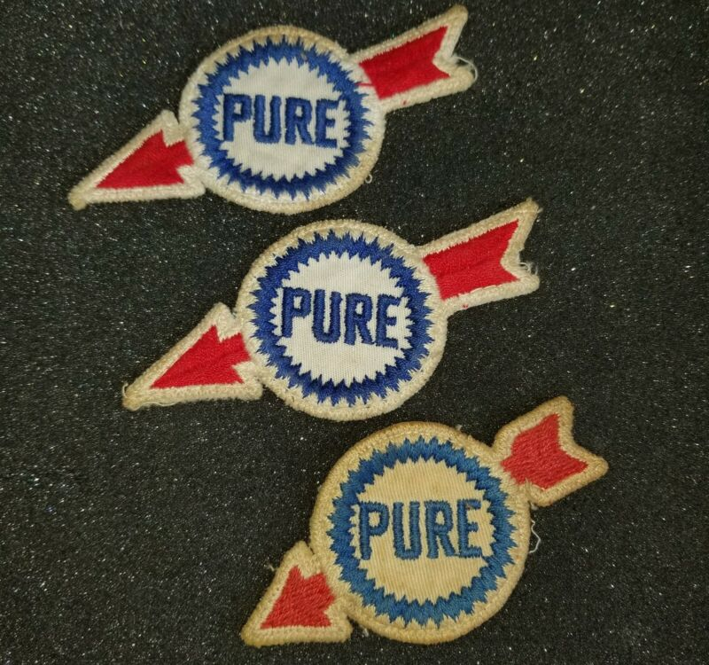 VINTAGE & ORIGINAL LOT OF (3) PURE OIL GAS STATION EMBROIDERED PATCHES SHIRT HAT