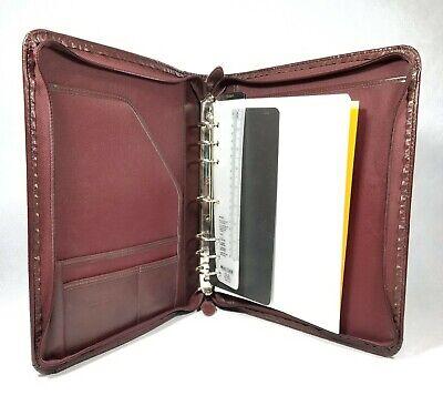 Vintage Day-timer Brown Leather 7 Rings Planner 1inch Binder Organizer 14x12