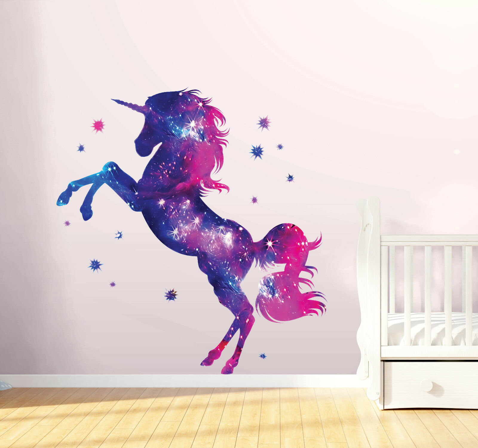 Stars Unicorn Wall Stickers Fantasy Girls Bedroom Wall Art Cute Nursary Decal