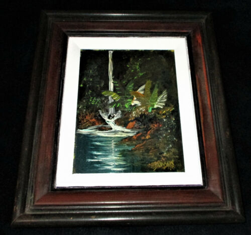 Hawaii 1976 OIL PAINTING BY JOE DOWSON Untitled Waterfall Pond Framed