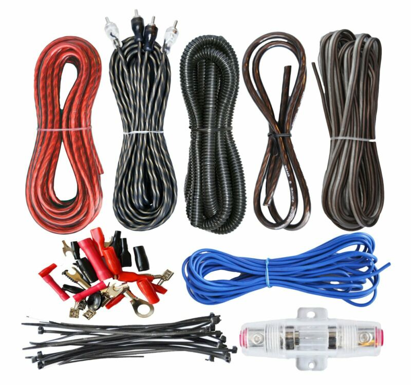 SoundBox ECK8, 8 Gauge Amplifier Install Kit Complete Amp Wiring Cables, 1500W