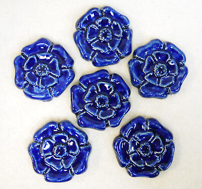 ROSETTE TILES Handmade Ceramic Mosaic Tiles, Craft Tiles, COBALT BLUE Set of 6