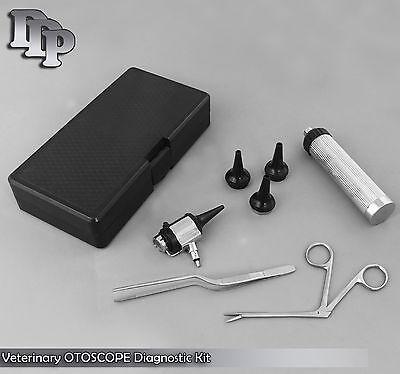 New Veterinary Double Lens Operating Otoscope Diagnostic Kit Set