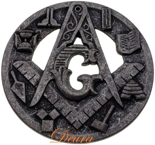 Masonic Master Mason Working Tools Square & Compass Car Emblem Antique Silver