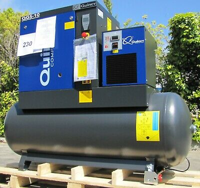2021 Quincy Qgs-10 Rotary Screw Air Compressor 10hp With Dryer 120 Gallon Tank