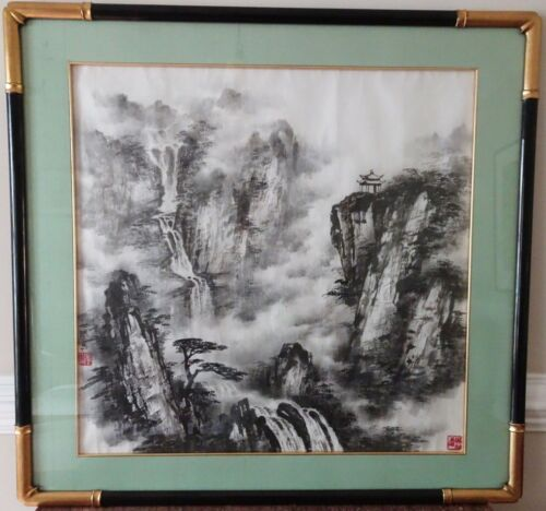 Stunning Chinese Mountain Landscape Ink Art Artist Signed Framed