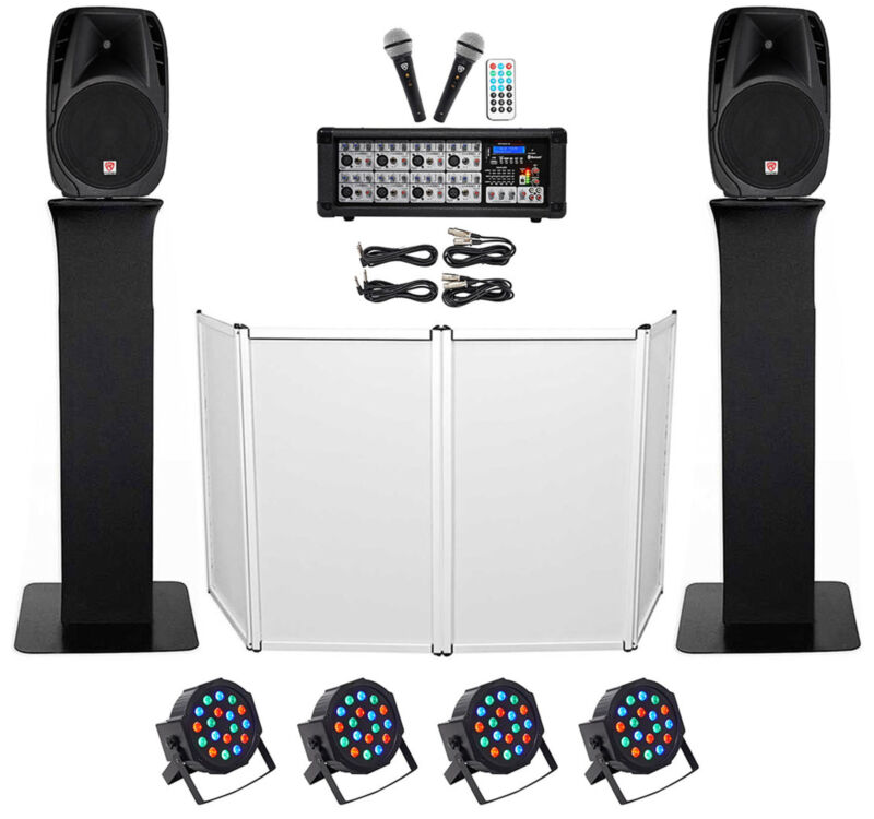 """DJ Package w/15"""" Speakers+Bluetooth Mixer+Mics+Totem Stands+Facade+Lights"""