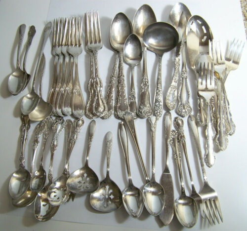 Antique / Vintage Silverplate Mixed Patterns Craft Lot 41 Pieces As Is