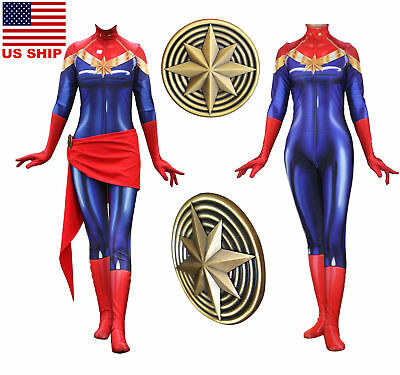 US! Ms Captain Marvel Superhero Costume Zentai Halloween Cosplay Belt Badge Sets