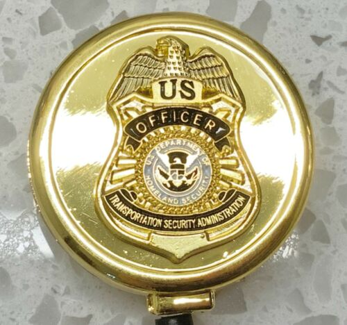 TSA Officer ID Holder Gold Logo on All Metal ID Reel