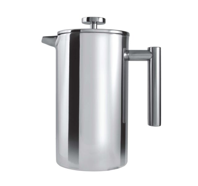 Grunwerg 12 Cup Straight Double Wall Coffee Maker Stainless Steel Cafetiere