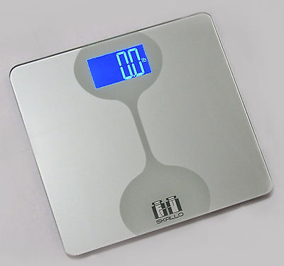 Skallo Sophie 400 Lbs Digital Glass Step On Fitness Bathroom Weight Body Scale