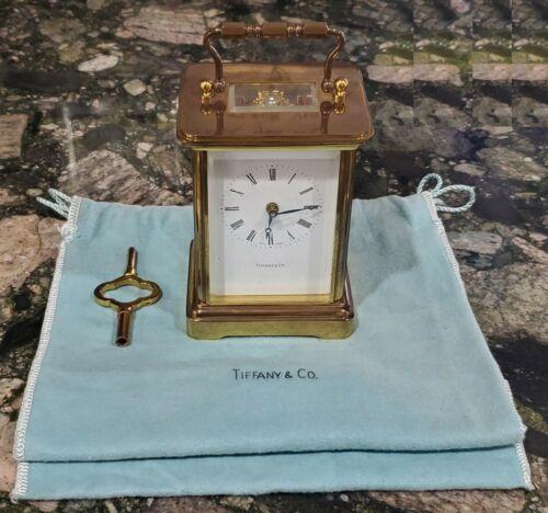 """Tiffany & Co. 5""""  Mini Brass Carriage Clock Skeleton Back w/ Key"""
