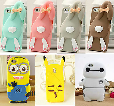 3D Q Luxury Cartoon Animal Rabbit Silicone Rubber Gel Cell Phone Case Cover Skin