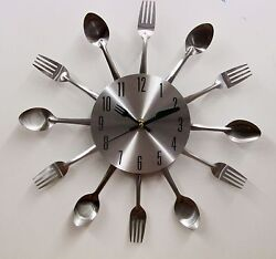 SMALL  ALUMINIUM FINISHED CUTLERY  SPOON & FORK WALL CLOCK -13 DIAMETER -OB951