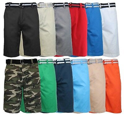 Mens 100% Cotton Slim Fit Belted Shorts - 5 pockets - Soft Washed Cotton Twill