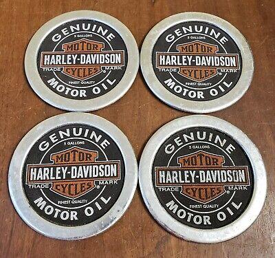 Harley Davidson Oil Can Lid Drink Coasters Bar Shop Beer Sign Advertising