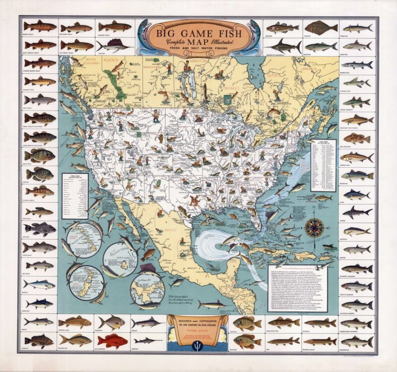 1936 pictorial map Big Game Fish pictorial border depicts 56 kinds POSTER 8519