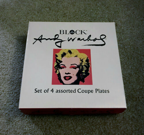 Andy Warhol Marilyn Monroe Set Of 4 Coupe Plates - Block Pop Art 1997 New In Box