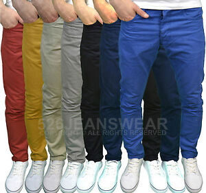 Enzo-Mens-Designer-Skinny-Fit-Chinos-Trousers-Available-in-7-Colours-BNWT