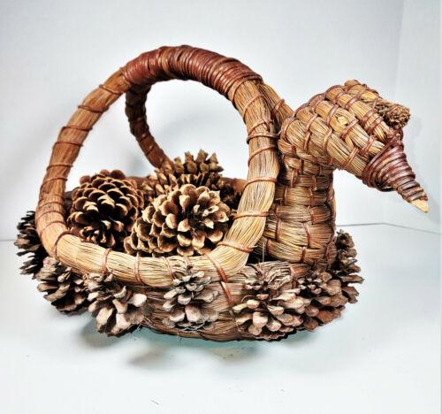 Vintage Native American Pine Needle Duck Basket w/ Pine Cones, Coushatta