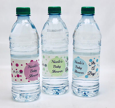 20 Personalized Polka Dot Themed Waterproof Water Bottle Labels for Baby Shower