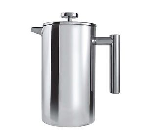 Grunwerg 6 Cup Straight Double Wall Satin Stainless Steel Cafetiere Coffee Maker