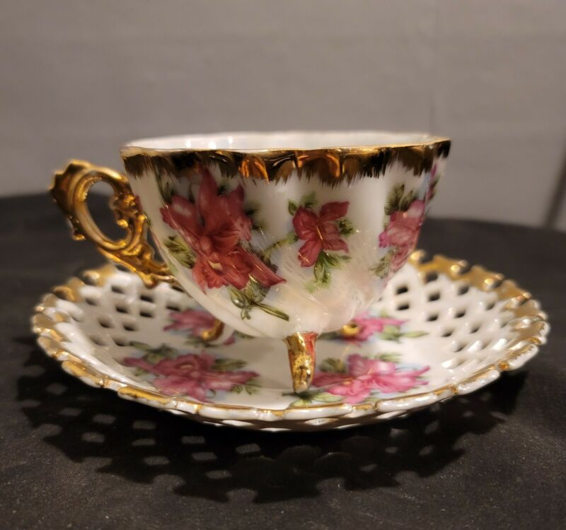Original Napco, Hand Painted, Tri-footed Tea Cup With saucer