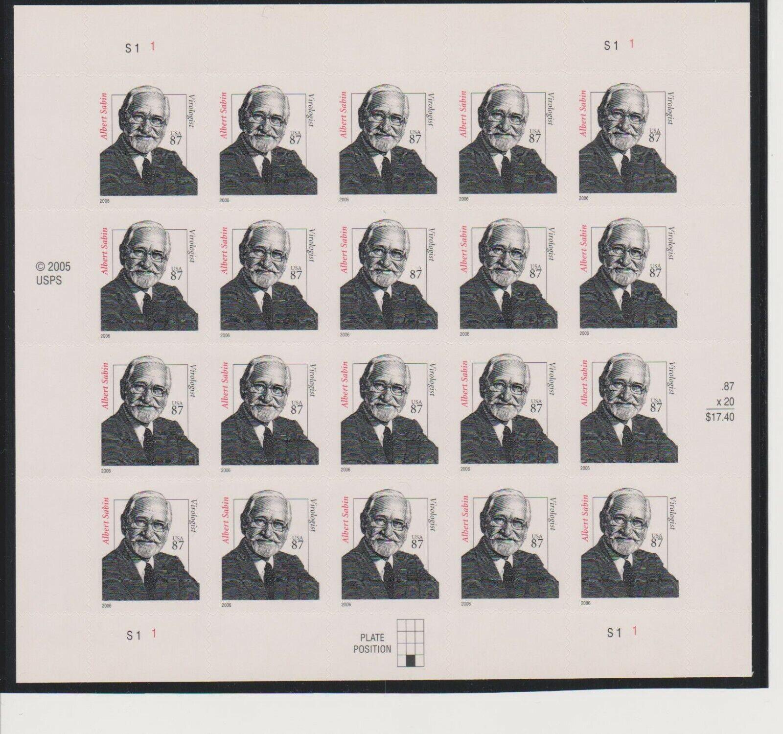US Albert Sabin Sheet Of 20 MNH Scott 3435 - $27.94